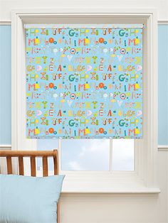 Alphabeats Bouncing Blue Blackout Roller Blind from Blinds 2go