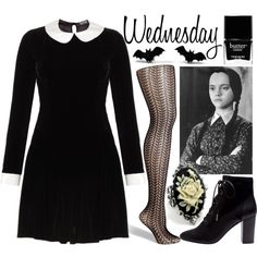 Wednesday Addams by sarah-horan777 on Polyvore featuring Meadham Kirchhoff, Fogal, Lanvin, Monday, Butter London, Halloween, WednesdayAddams and TheAddamsFamily