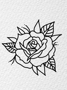 Traditional Tattoo Outline, Traditional Tattoo Flowers, Traditional Tattoo Stencils, Tattoo Outline Drawing, Rose Drawing Tattoo, Tattoo Drawings, Desenhos Old School, Emoji Drawings, Old School Tattoo Designs