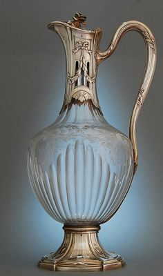 Etched and fluted glass mounted in silver claret jug by Emile Puiforcat, Paris, France 1890