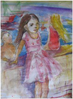 Children around harbor watercolor-paper #contemporaryart Contemporary Artists, Watercolor Paper, Paintings, Fine Art, Children, Young Children, Boys, Arches Watercolor Paper, Paint