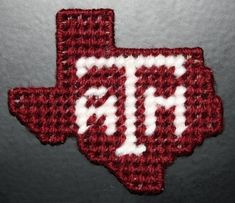 Items similar to 2091 Texas Maroon & White Magnet on Etsy Plastic Canvas Coasters, Plastic Canvas Crafts, Plastic Canvas Patterns, White Ornaments, Christmas Ornaments, Baby Canvas, Crochet Art, Tissue Boxes, Crafts To Make