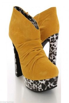 Sexy yellow Faux Suede stripper Bootie cow print chunk heel platform ankle boots #KissTell #FashionAnkle