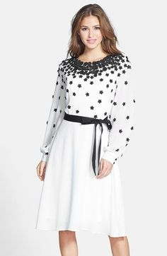 Nue by Shani Belted Appliqué A-Line Dress available at #Nordstrom
