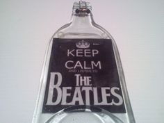 Keep Calm Beatles  wine melted bottle made into by Collectivekayos, $15.00