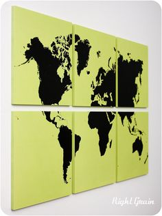 Large World Map Wall Art Painting - Could maybe DIY using wall sticker and canvases?