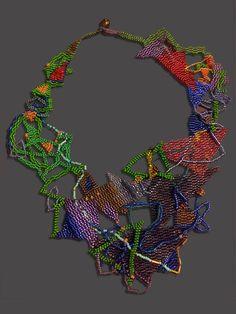 """JOYCE J. SCOTT TRIANGLES  2014. Peyote-stitched glass beads, thread  9"""" x 7.25"""""""