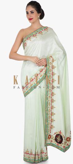 Mint Green Saree In Cotton Silk With Velvet Patch Work And Zardosi Online - Kalki Fashion Western Dresses, Indian Dresses, Cotton Silk Fabric, Green Saree, Elegant Saree, Embroidery Fashion, Printed Sarees, Party Wear Sarees, India Fashion