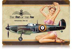 Spitfire pub recruiting tin pin-up