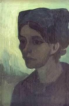 1885 Van Gogh Head of a young peasant woman with a dark hood
