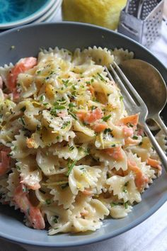 Farfalle Pasta with Smoked Salmon and Lemon Cream Sauce......AND Farfalle Pasta with Bacon and Tomato Cream Sauce