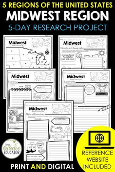 Midwest Region - one of the 5 regions of the United States - is a research project for students in grades 2-4. With this one easy lesson, your students can learn to complete a short research project. Included in this fun resource is a link to the Reference Website created exclusively for this project. The website is kid-friendly and ad-free. When you purchase Midwest Region, you get BOTH print and digital options making it easily compatible with Google Classroom™ and distance learning. Daily Lesson Plan, Lesson Plans, Reference Website, Create Website, Research Projects, Upper Elementary, Google Classroom, Social Studies, Teacher Pay Teachers