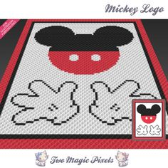 Mickey Logo by Two Magic Pixels Mickey Mouse Blanket, Crochet Mickey Mouse, Crochet Disney, Pixel Crochet, Crochet Chart, Crochet Stitches, C2c Crochet Blanket, Crochet Blanket Patterns, Knitting Patterns