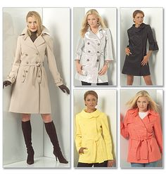 McCall's 5525 - Trench coat pattern. I have so many ideas for really unique coats, I need something I can wear with anything.  Like a black trench.  Think I'll add a line of tucks straight down the center back...