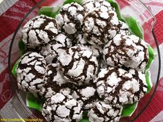 Triple-Chocolate Crinkle Cookies by Tracey's Culinary Adventures Köstliche Desserts, Delicious Desserts, Dessert Recipes, Yummy Food, Yummy Yummy, Chocolate Crinkle Cookies, Chocolate Crinkles, Chocolate Squares, Holiday Cookie Recipes