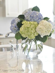 Honey Were Home: Kitchen Updates & Hydrangea Love Fresh Flowers, Spring Flowers, Beautiful Flowers, Hydrangea Vase, Flower Vases, White Hydrangeas, White Tulips, Arrangements D'hortensia, Decoration Bedroom