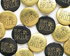 Black and Gold Hen Party Badges / Team Bride Pins / Bride Tribe Badges / Hen Do Accessory / Bachelorette Buttons Hen Party Badges, Wedding Badges, Stag And Hen, Hen Party Accessories, Bachelorette Party Favors, Hens Night, Invitation Paper, Bridal Shower, Bride