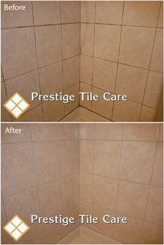 Cleaning and regrouting the base of tan shower tiles.