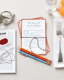 Wedding favor kits for kids: Mad Libs and drawing pads with glasses - saw this but it could be a fun shower game too! Wedding Reception Games For Guests, Wedding Games For Guests, Wedding Guest List, Wedding With Kids, Trendy Wedding, Reception Ideas, Wedding Story, Casual Wedding, Wedding Receptions