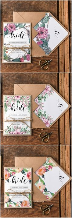 Bridal shower floral wedding invitations #wedding #floral #bridalshower #bridetobe #henpartyinvite #invite #eco #calligraphy