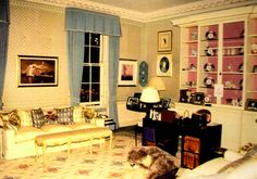 Diana's sitting room at Kensington Palace where Paul Burrell said she spent most of her time.  She would sit at the desk and at her feet was her stuffed hippo.