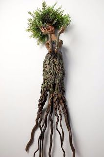 Dryad, Mixed Media Wall Sculpture, by Christine K. Harris - Dryad, Mixed Media Wall Sculpture, by Christine K. Clay Crafts, Arts And Crafts, Memes Arte, Deco Nature, Driftwood Art, Spirited Art, Green Man, Wall Sculptures, Tree Art