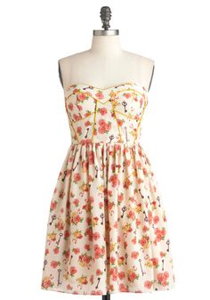 <3 Have Gramercy Dress - Short, Cream, Yellow, Green, Pink, Brown, Floral, Party, Casual, A-line, Strapless, Summer, French / Victorian