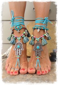 BLUE Delight Tassel HAMSA hand BAREFOOT sandals tribal belly