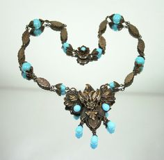 Vintage Necklace Victorian Revival Repousse Brass by zephyrvintage, $110.00