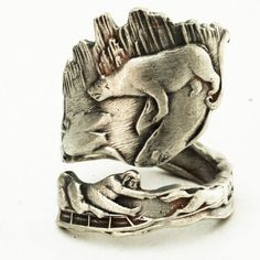 Spoon Rings and Bracelets | Spoon Ring Souvenir of Alaska, with bear & walrus