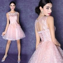 Pink lace bride wedding dress short 2015 new princess vestido de noiva curto renda summer style short wedding dress(China (Mainland))