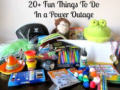 Fun ideas for packing a Power Outage Activity Kit #FamilyFun #KidsActivities. Definitely going to be making 2 separate boxes. one for the kids to keep busy and one for emergency lighting, food, etc. winter is coming people! be prepared!!!