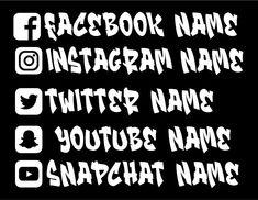 Instagram Decals, Facebook Decals, Youtube Decals, Twitter Decals, Snapchat Decals, Custom Car Decal, Social Media Decals, Graffiti Stickers Instagram Decal, Instagram Names, Facebook Instagram, Custom Car Decals, Custom Cars, Custom Stickers, Snapchat Names, Snapchat Stickers, Funny Bumper Stickers