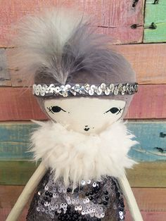 """1920's Pixie Flapper Art Deco Embroidered Handmade Doll 17"""""""