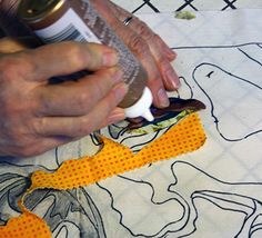 Step Three.  Glue eye to new fabric. Susan Carlson