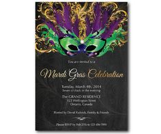 Mardi Gras invitation. Mask chalkboard. Mardi Gras Party invites. Green, Purple and Gold. Made to order. Any custom color. DIY on Etsy, $10.00