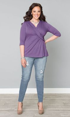 Curvalicious Clothes::Plus Size Tops::Katniss Knit Top - Lilac - wish the color were different....  not a huge fan of that orchid color