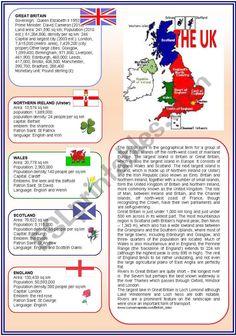English teaching worksheets: The United Kingdom - yurkar Geography Worksheets, Fun Worksheets, Vocabulary Worksheets, English Vocabulary, British English, English Fun, English Lessons, Learn English, English Language