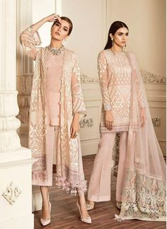Buy Baroque Chantelle Embroidered Chiffon Collection – 09 - Dove at YourLibaas. Shop online for Original Pakistani Party Wear Chiffon Suits. Pakistani Fashion Party Wear, Pakistani Dress Design, Pakistani Designers, Pakistani Outfits, Indian Outfits, Indian Fashion, Latest Pakistani Fashion, Casual Dresses, Fashion Dresses