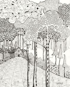 Artwork Pop-up - Zentangle Woodland, 8x10 Pen and Ink