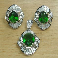 Oval Cut Emerald Green White CZ 925 Sterling Silver Cocktail Jewelry Set
