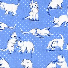 Fabric, Michael Miller Kitten Play Fabric, Blue kitten, kitty fabric, Sale Fabric by SewFancyFabrics on Etsy