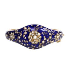 Antique Blue Enamel Pearl Diamond Gold Bangle Bracelet | From a unique collection of vintage bangles at https://www.1stdibs.com/jewelry/bracelets/bangles/