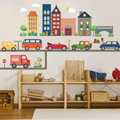 Transportation Town Wall Decals with Adventure Cars & Straight Gray Road, Removable and Reusable Eco-friendly Fabric Wall Decal Stickers Volkswagon Van, Adventure Car, Tan House, Childrens Wall Decals, Green Jeep, Eco Friendly Cleaning Products, Green Living Tips, Textured Walls, Biodegradable Products