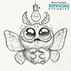 cute art by Chris Ryniak Cute Monsters Drawings, Cartoon Drawings, Cartoon Art, Animal Drawings, Easy Drawings, Monster Sketch, Doodle Monster, Monster Drawing, Cute Creatures