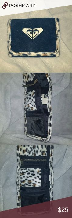 Roxy Tri-fold wallet Old school Roxy tri-fold wallet. Black and cheetah print, velour. Never used Roxy Accessories