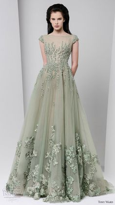 tony ward fall winter 2016 2017 rtw cap sleeves illusion bateau neckline beaded bodice ball gown powder green -- Tony Ward Fall 2016 Ready-to-Wear Dresses Bridesmaid Dresses, Prom Dresses, Formal Dresses, Wedding Dresses, Flapper Dresses, Beautiful Gowns, Beautiful Outfits, Elegant Dresses, Pretty Dresses