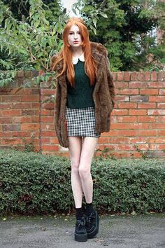50p Embroidered Collar Shirt, Ax Paris Dogtooth Skirt, Faux Fur Coat, Underground Triple Creepers, Topshop Jumper.