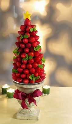 The silver base with the bright red of the strawberries make this a very eye-catching design. I love the crisp look of the stacked berries!