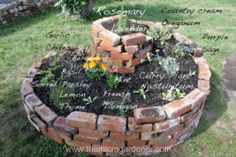 Would love to plant an Herb Garden. Herb spiral showing the position of a variety of herbs Herb Spiral, Spiral Garden, Brick Garden, Brick Projects, Garden Projects, Culture D'herbes, Brick Planter, Deco Nature, Growing Herbs